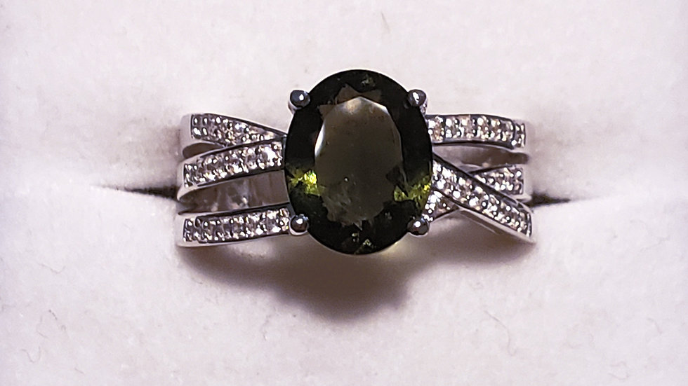 Faceted Moldavite & Zircon ring in Rhodium over 925 Silver 1.50 carats sz 7