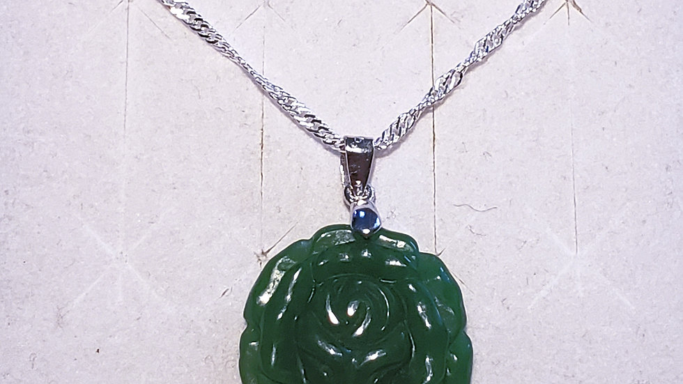 "Carved Rose Green Burmese Jadeite pendant 20"" in 925 Sterling Silver"