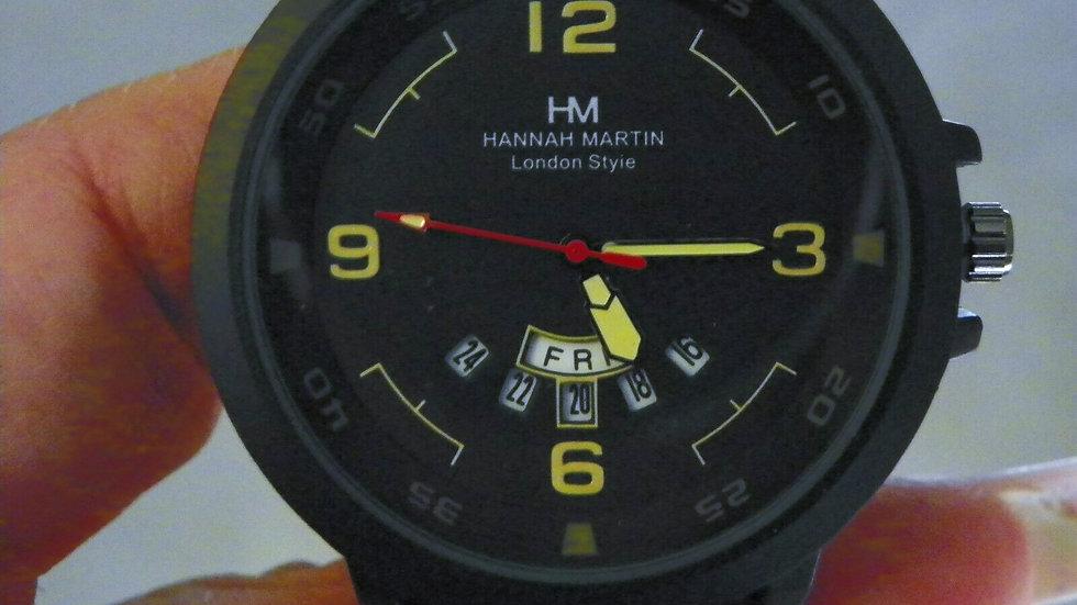 Hanna Martin men's calendar watch w/leather band
