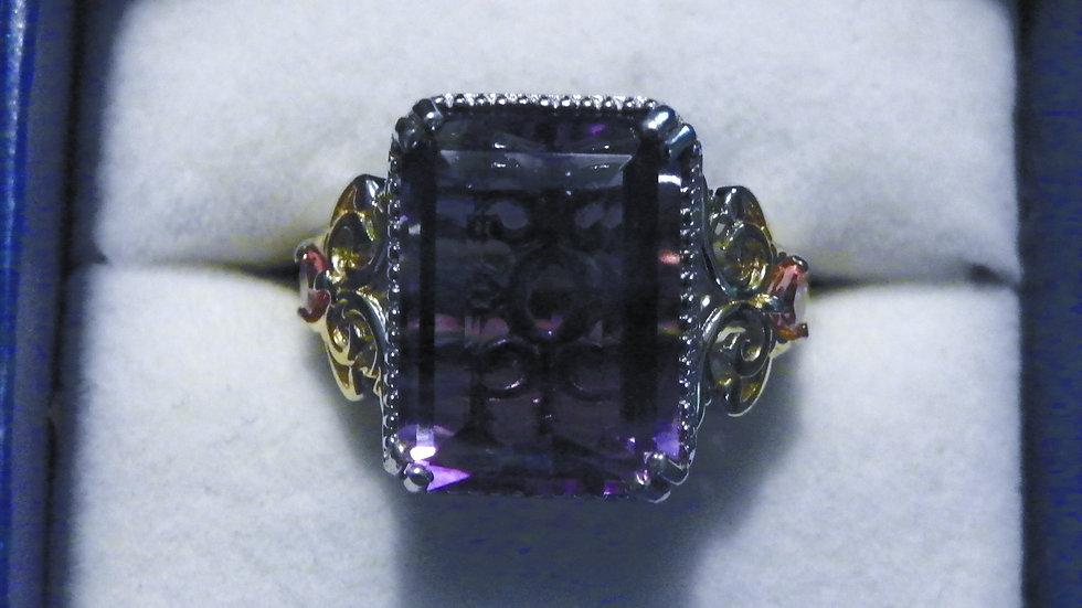 Bi-color Fluorite & Pink Tourmaline (15.25ct) ring 14K YG and Platinum/925 sz 9