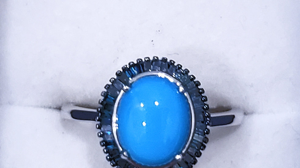 Natural Sleeping Beauty Turquoise & Blue Diamond ring in Platinum over 925 SS