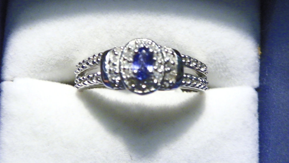 Ceylon Sapphire & Cambodian White Zircon halo ring in Plat/925 Sterling size 10