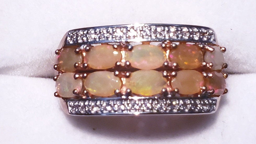 Welo Opal and White Zircon band ring in 14K Rose Gold over 925 sterling sz 8