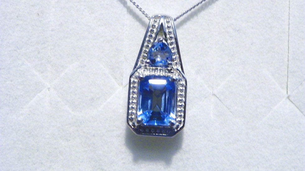 Blue Topaz heart pendant in Platinum over 925 Sterling 2.35 cts w/chain