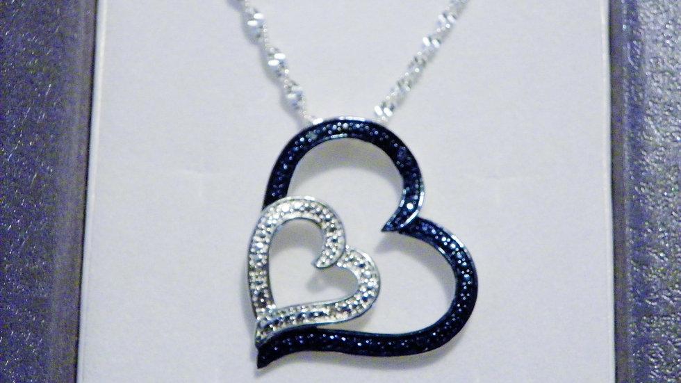 Blue & White Diamond Accent Double Heart Pendant w/ 20 inch 925 SS chain