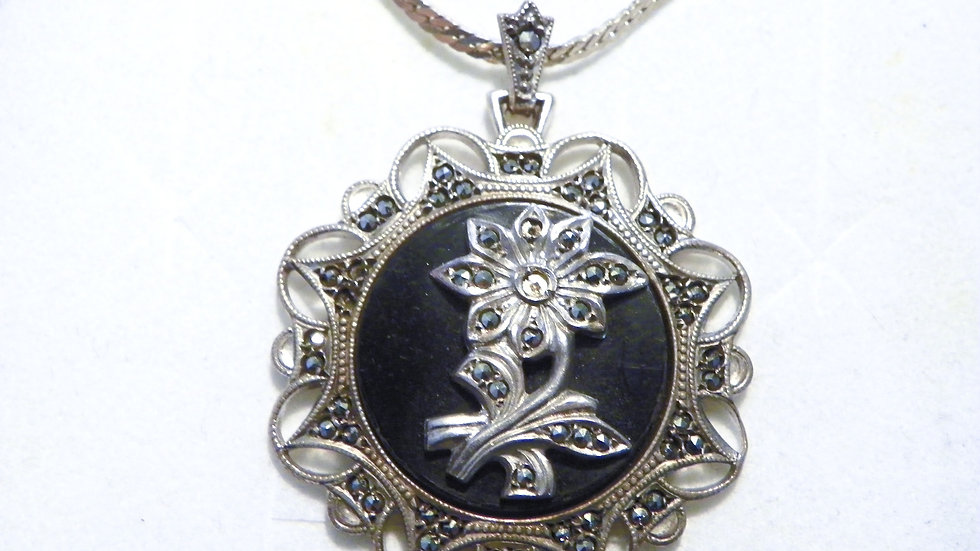 "Antique/Vintage KD Silver, Onyx, & Marcasite pendant w/Italian Silver 18"" chain"