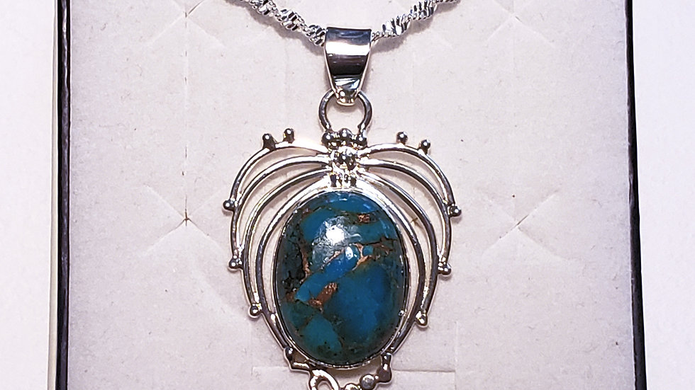 "Fancy Mojave Turquoise pendant 15 cts in Platinum over 925 Sterling w/20"" chain"