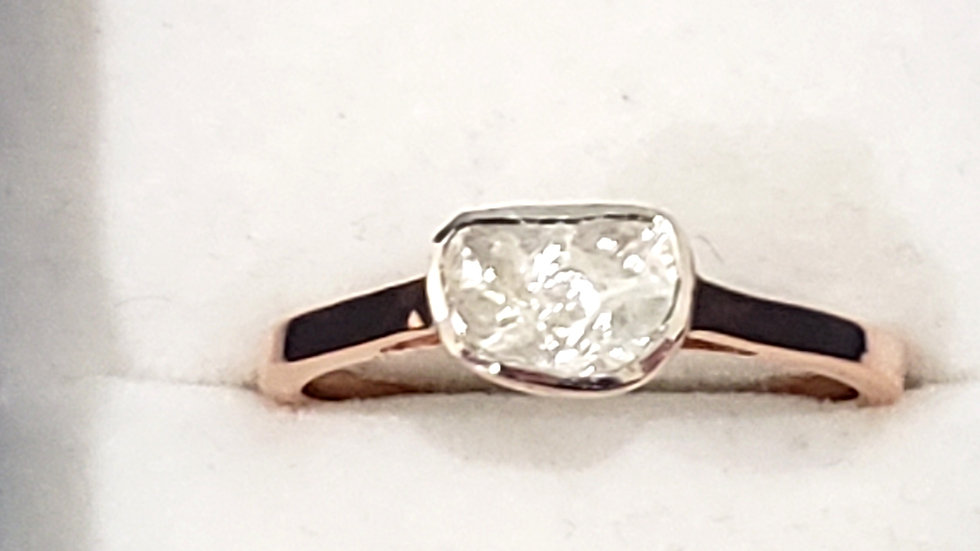 Polki Diamond solitaire ring in 14K Rose Gold over 925 Sterling Silver .35 cts