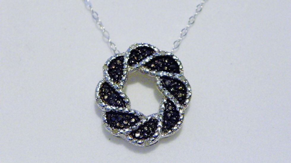 Black & White Diamond Pendant (.25ct) in Platinum /925 Sterling w/20 in chain