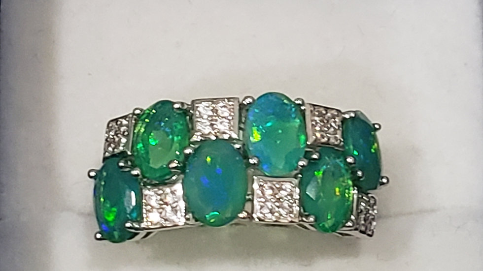 Blue Welo Opal and White Zircon accent ring in Rhodium over 925 Sterling sz 8