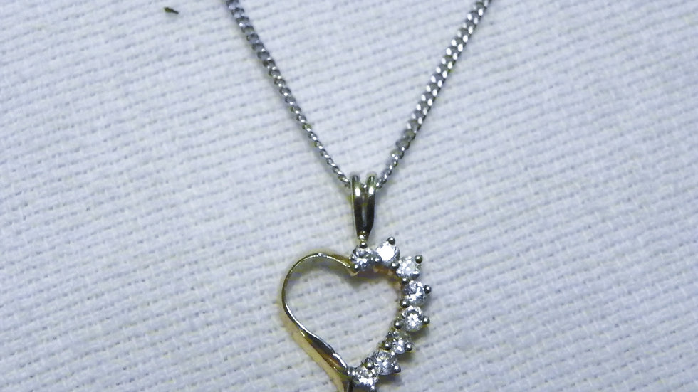 14K Gold over 925 silver heart pendant with cubic zirconia gems & 18 inch chain