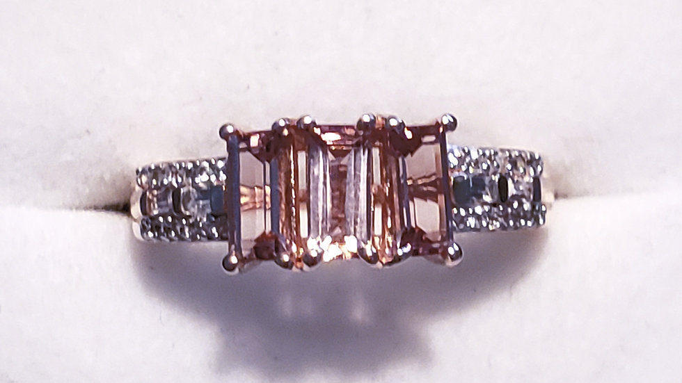 Pink Tourmaline and White Zircon ring in 14K Rose Gold over 925SS 1.25 ct sz 7