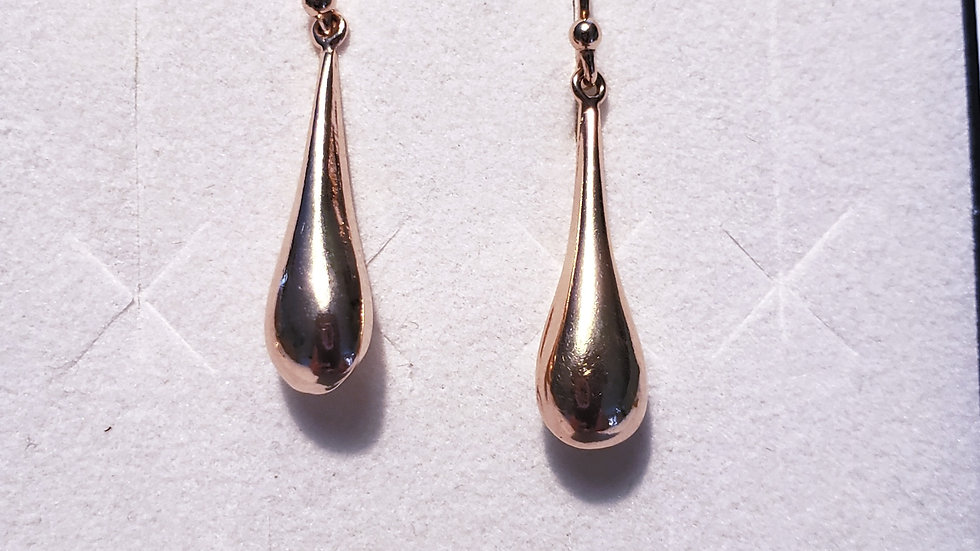 "18K Rose Gold over 925 Sterling Silver water drop earrings 1 1/4 "" long"