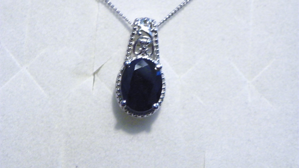 Madagascar Blue Sapphire & White Zircon necklace 2.5 ct with 20 in chain