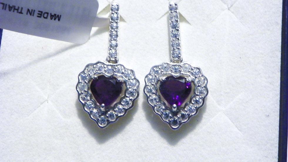 Lukasa Amethyst & White Zircon drop earrings in 925 Sterling Silver 4.26 cts