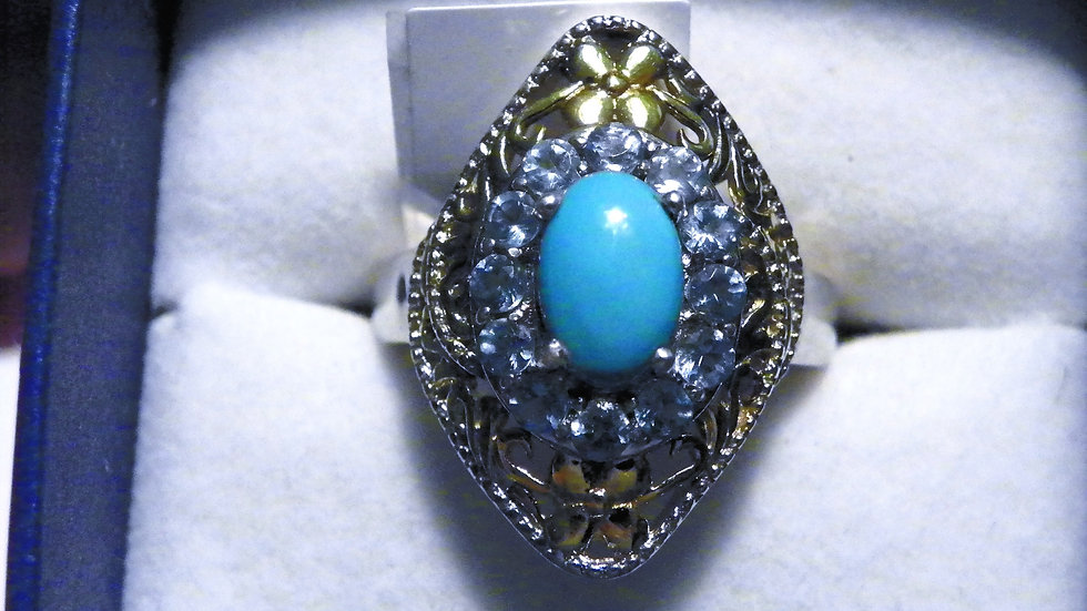 Sleeping Beauty Turq & Paraiba Apatite ring (2.30 ct) in 14K YG & Plat/925 sz 8