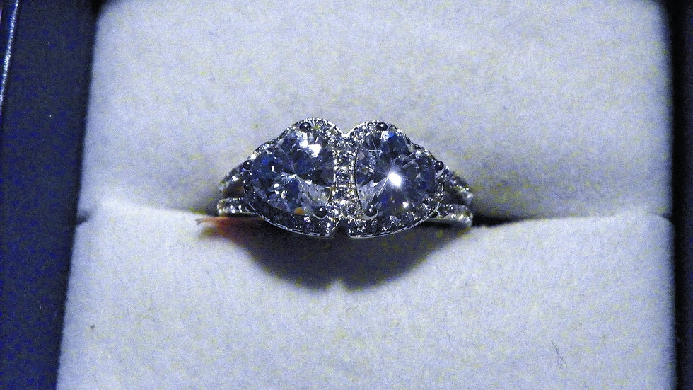 Double Heart Cubic Zirconia ring (2.9ct) in 925 Sterling Silver size 6