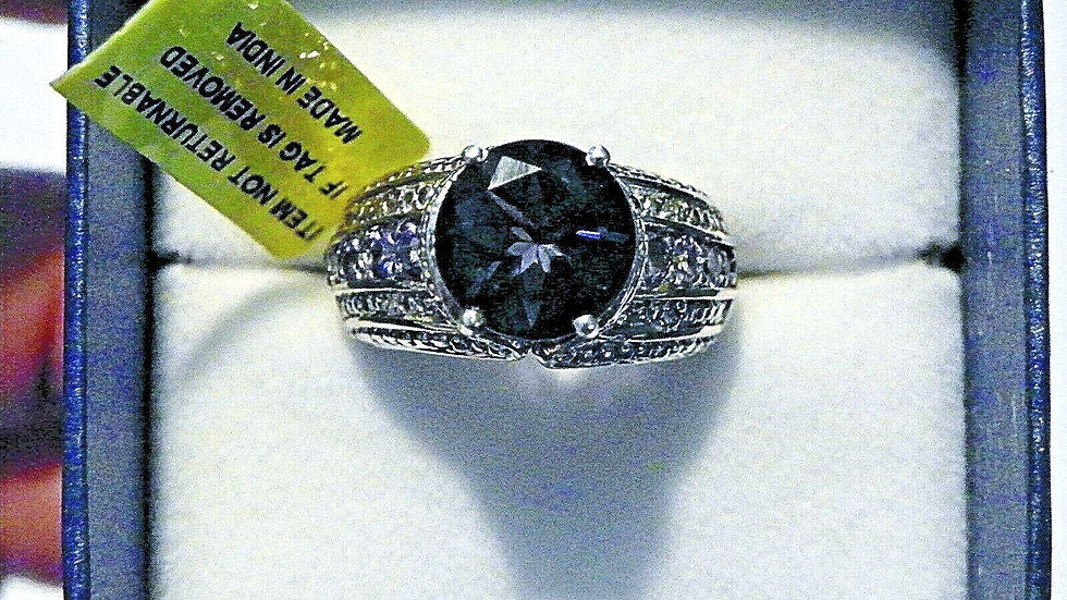 Teal Fluorite, Tanzanite & Dia ring (5.87ct) in Platinum over Sterling sz 6
