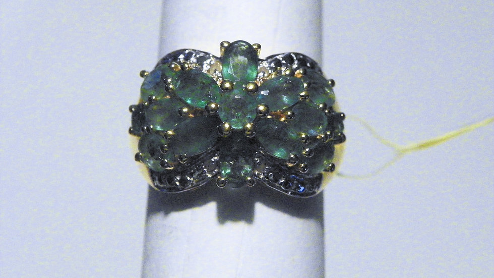 Zambian Emerald (3.00ct) & Dia(.01ct) ring in 14K YG over Sterling Silver sz 7