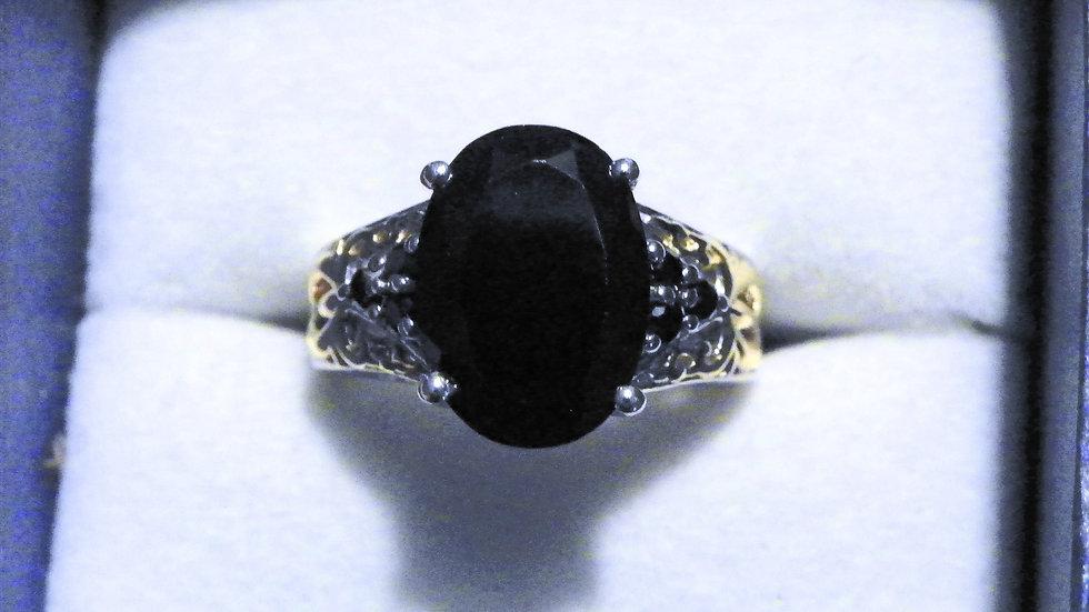 Thai Black Spinel (8.09 ct) ring in 14K YG & Platinum over 925 Sterling sz 7