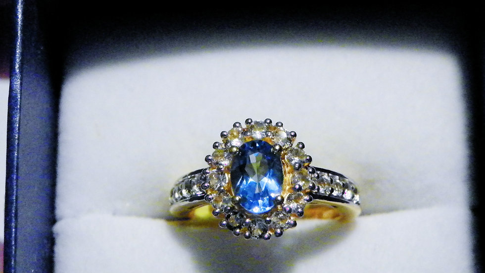 Electric Blue Topaz (1.00 ct) & White Topaz (.47ct) ring in 14K YG over 925 sz 5