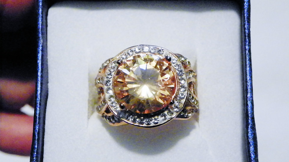 Morganite CZ & Austrian Crystal ring in Rose Gold/ Stainless Steel .34 cts sz 7