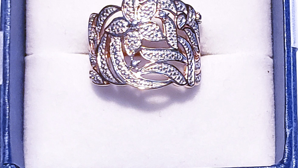 Rose gold over 925 Silver ring w/ one diamond accent size 7
