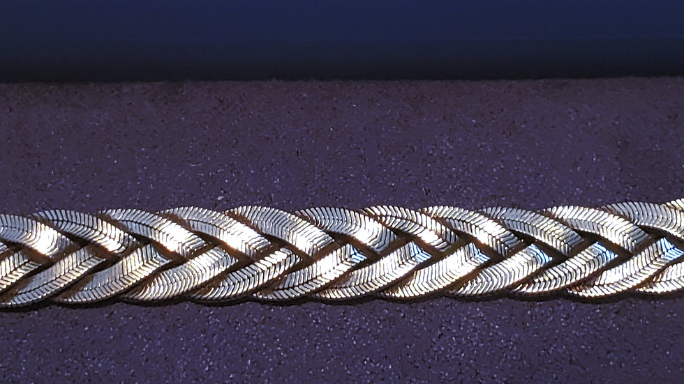 Artisan hand crafted braided sterling silver bracelet 28.7 grams 7 inches long