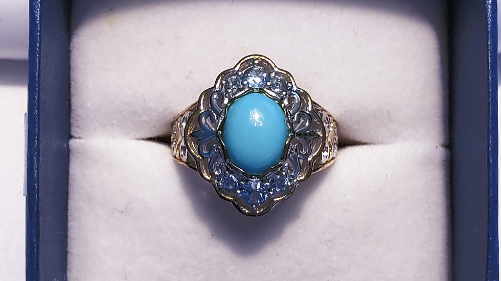 Sleeping Beauty Turquoise & Blue Topaz ring(1.60 ct)in 14K YG & RG over 925 sz 7