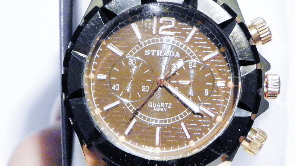Black & Rose Gold over Stainless Steel Japanese Quartz Movement watch
