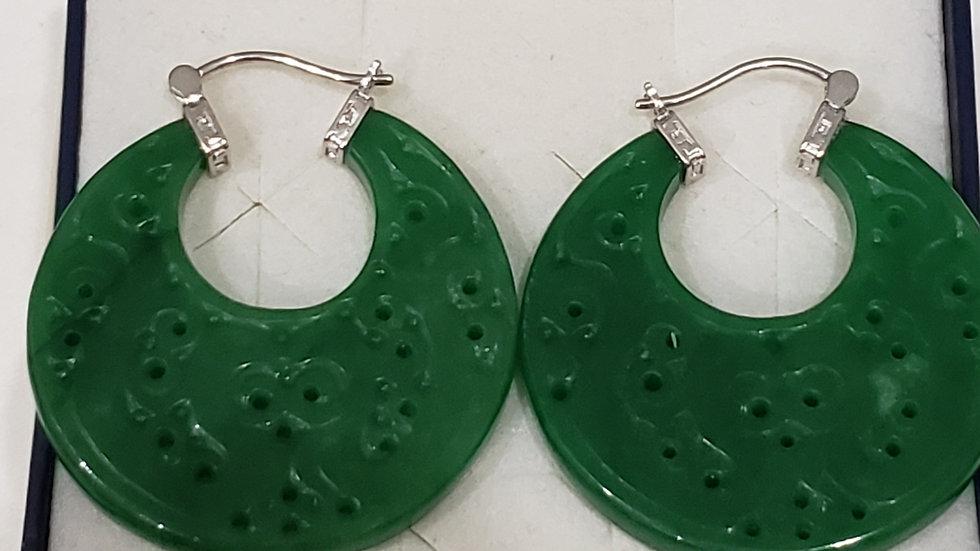 Burmese Green Jade carved earrings 100 cts in 925 Sterling Silver