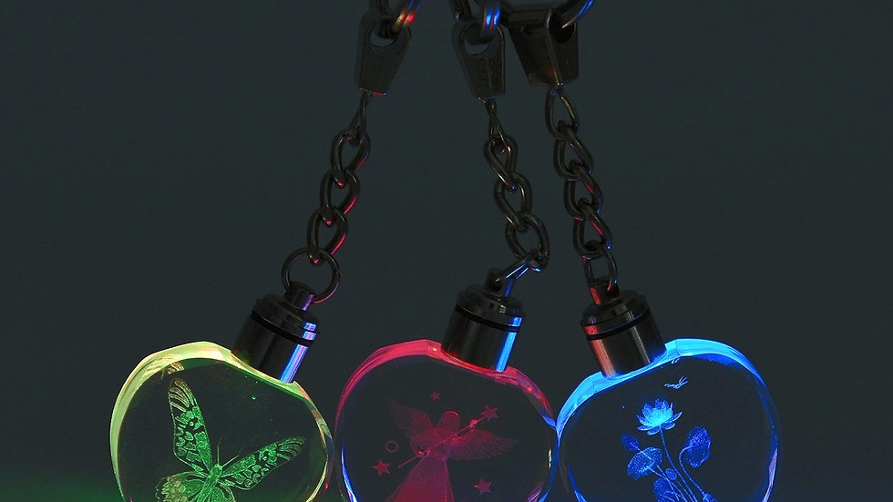 Butterfly, Heart or Flower LED color changing keychain w/ batteries included