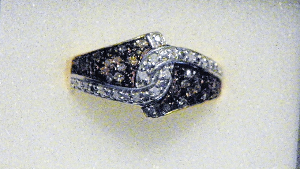 Champagne & White dia ring (.25 ct) in 14K YG over 925 Sterling sz 8