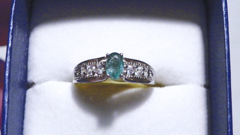 AA Premium Brazilian Emerald & White Zircon ring in Platinum over 925 size 7