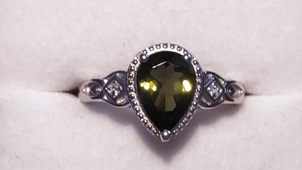 Natural faceted Moldavite & Zircon ring 1.80 cts in Platinum over 925 SS sz 7