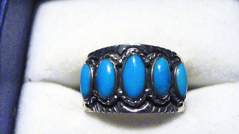 Kingman Turquoise band ring (1.50 ct) in 925 Sterling Silver size 6