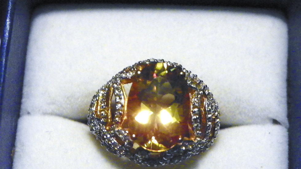 Exotic Marialite & White Topaz (6.35 ct) ring in 14K Yellow Gold over 925 size 7