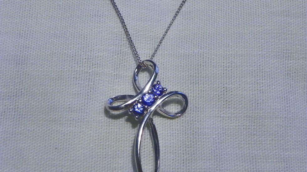 Ceylon Blue Sapphire Cross Pendant in Platinum over 925 Sterling w/chain .40 ct
