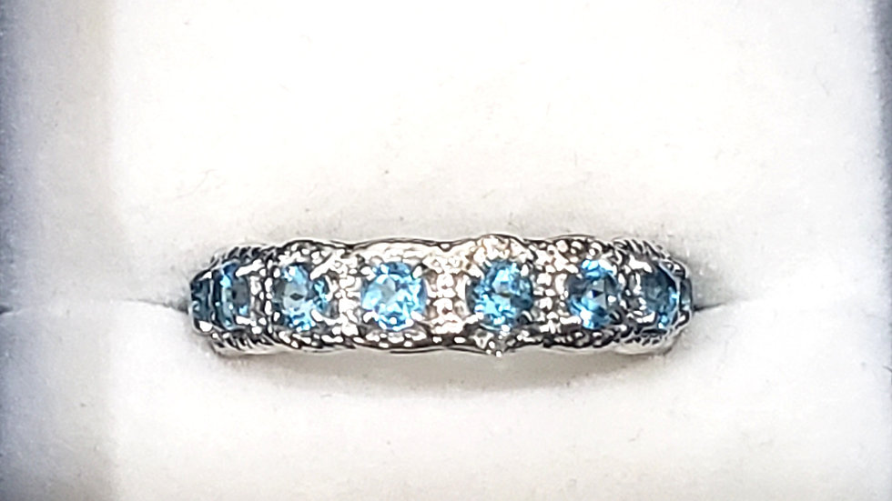 Blue & White Topaz eternity ring 2.68 tcw in Platinum over 925 Sterling Silver