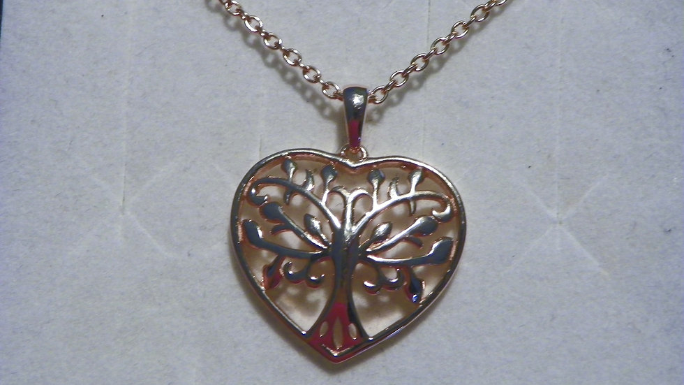 "14K Rose Gold over 925 ""Tree of Life"" pendant with 20 inch chain"