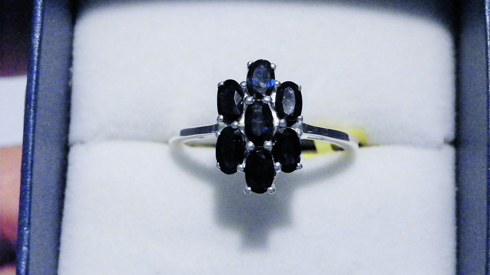 Black Sapphire (2.65ct) ring in Nickel Free Sterling Silver size 9