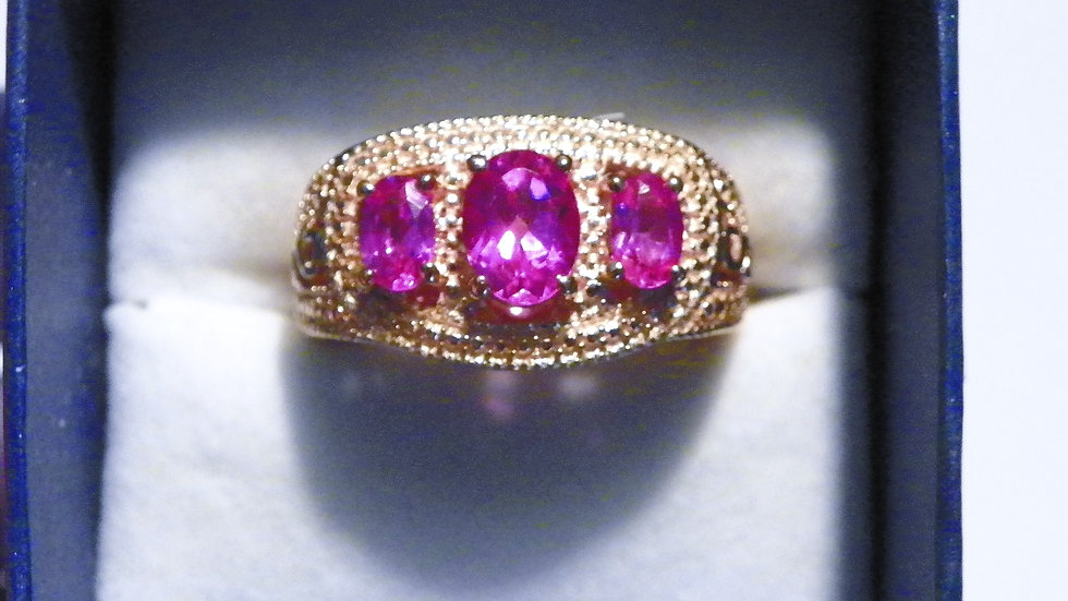 Lab grown Pink Sapphire in 18K Rose Gold over brass (3 ct) size 7