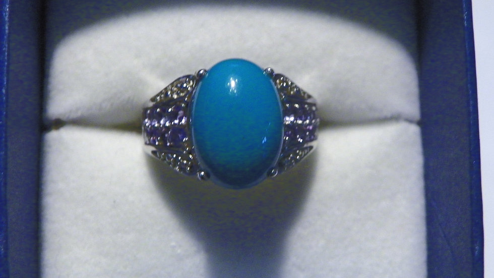 Sleeping Beauty Turquoise(4.35 ct) & Tanzanite(.65 ct) ring in 925 Sterling sz 7