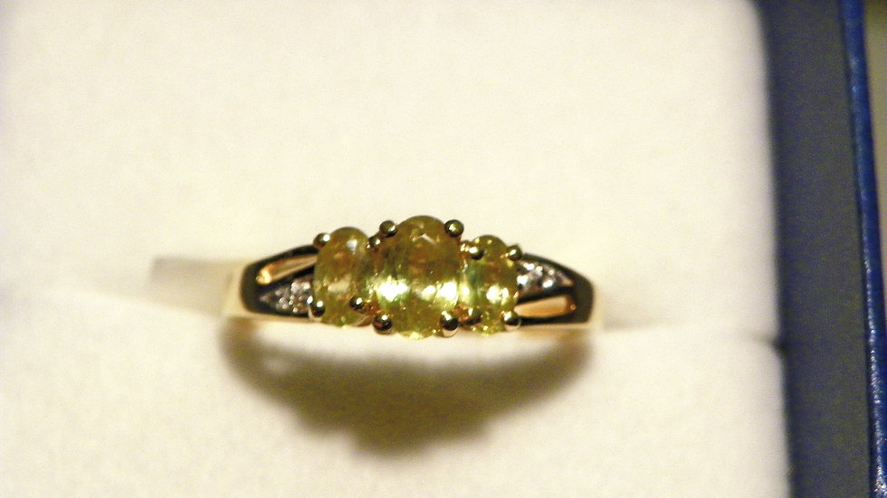 Madagascar Sphene & Cambodian zircon ring in Yellow Gold over 925 1.18 cts sz 6