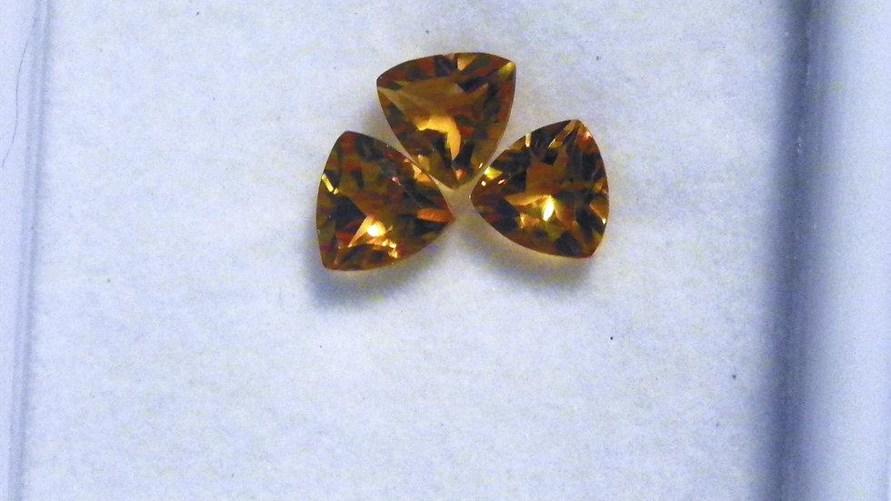 Brazilian Citrine set of three trillion loose gemstones 6 mm 1.66 cts TGW