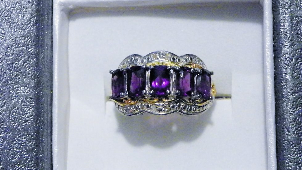 Amethyst (2.40ct) & dia ring in 14K YG & Platinum over Sterling Silver sz 6