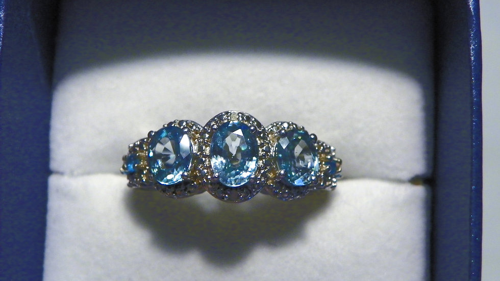 Cambodian Blue Zircon, Neon Apatite & dia accent ring in Plat over 925 sz 8