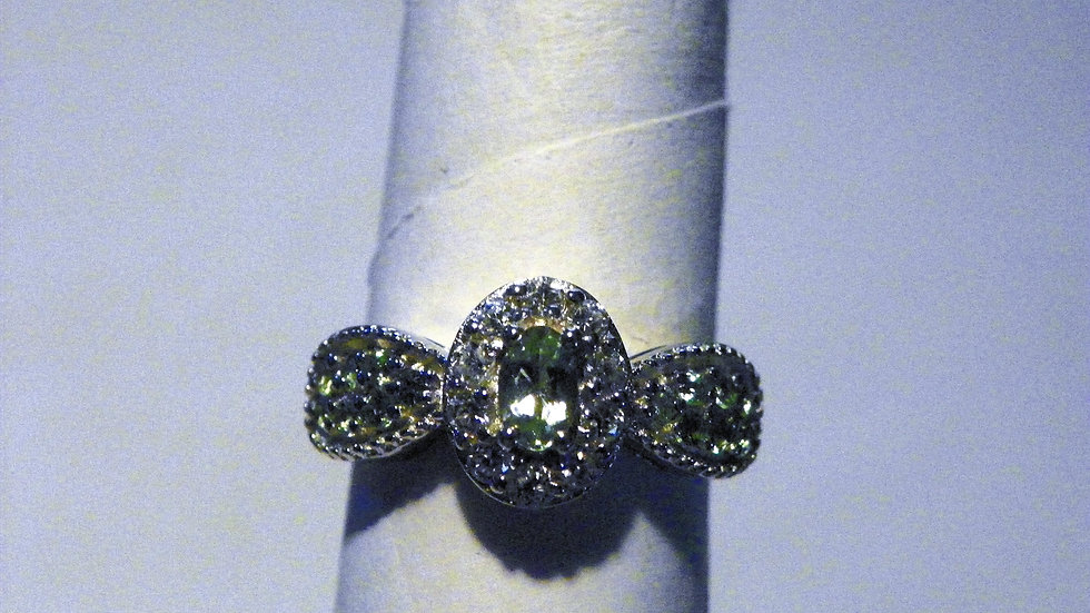 Brazilian Mint Garnet & White Zircon ring (.85 ct) in Platinum over 925 SS sz 5
