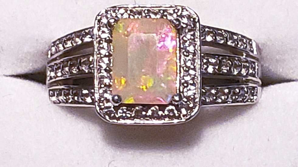 Natural Welo Opal and white zircon halo ring 1.50 ct in rhodium over 925 sz 8