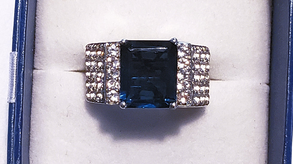London Blue quartz and White Zircon cocktail ring in heavy platinum over 925